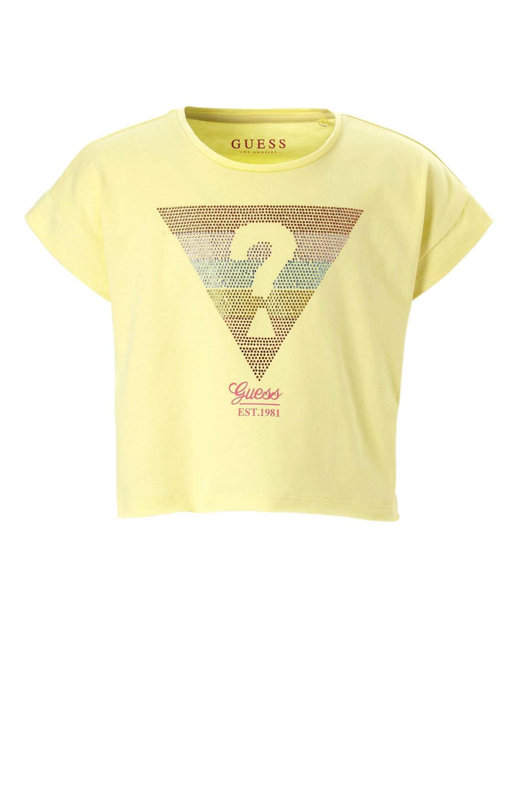 GUESS cropped T-shirt met strass steentjes geel, Geel