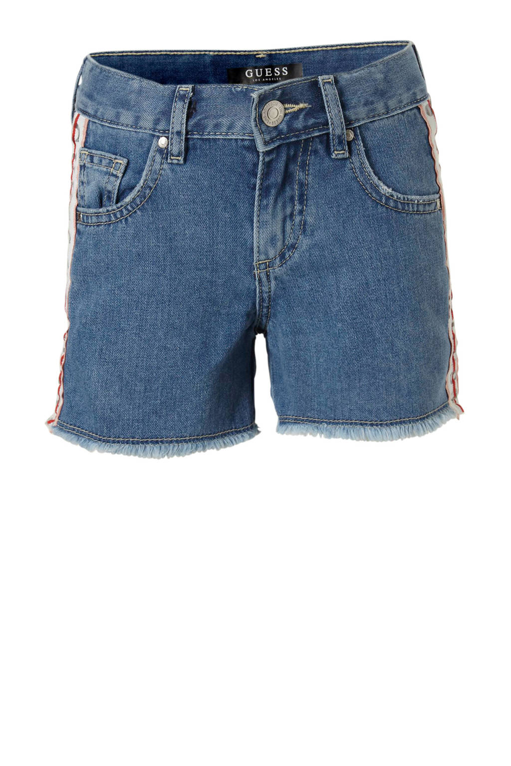GUESS jeans short met zijstreep, Dark denim