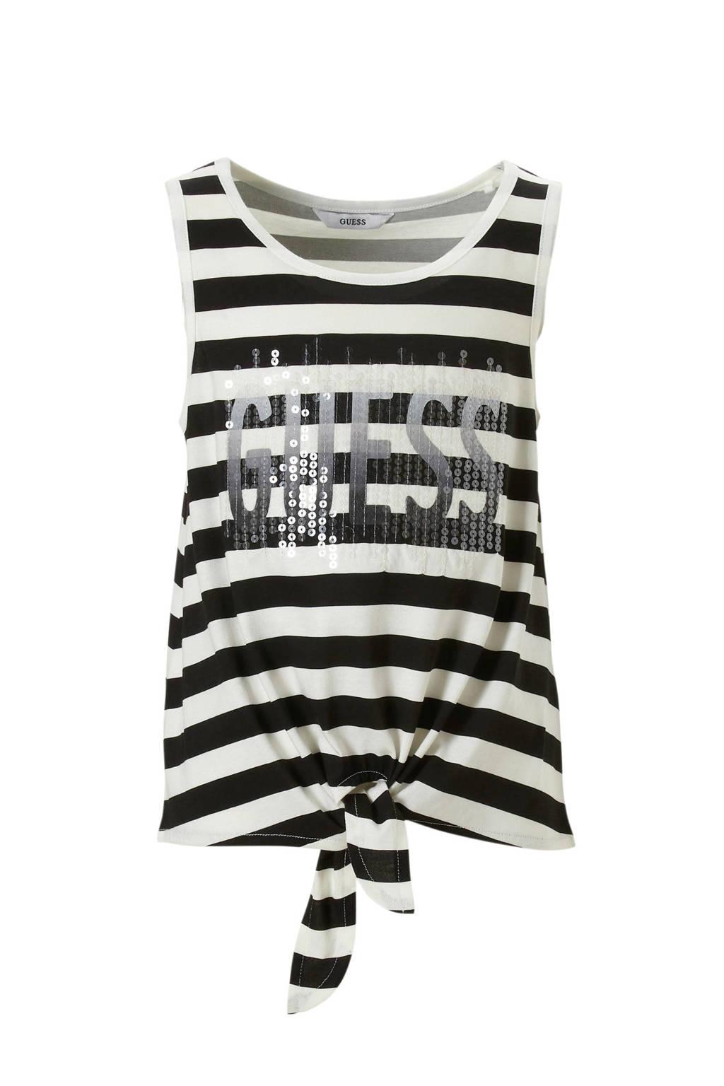 GUESS T-shirt gestreept met knoopdetail, zwart/ wit