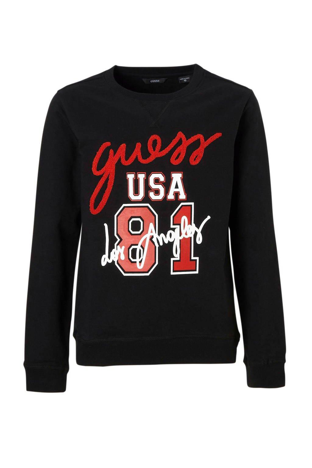 GUESS sweater met logo, Zwart