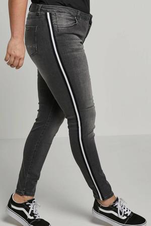 skinny jeans basics met zijstreep donkergrijs used