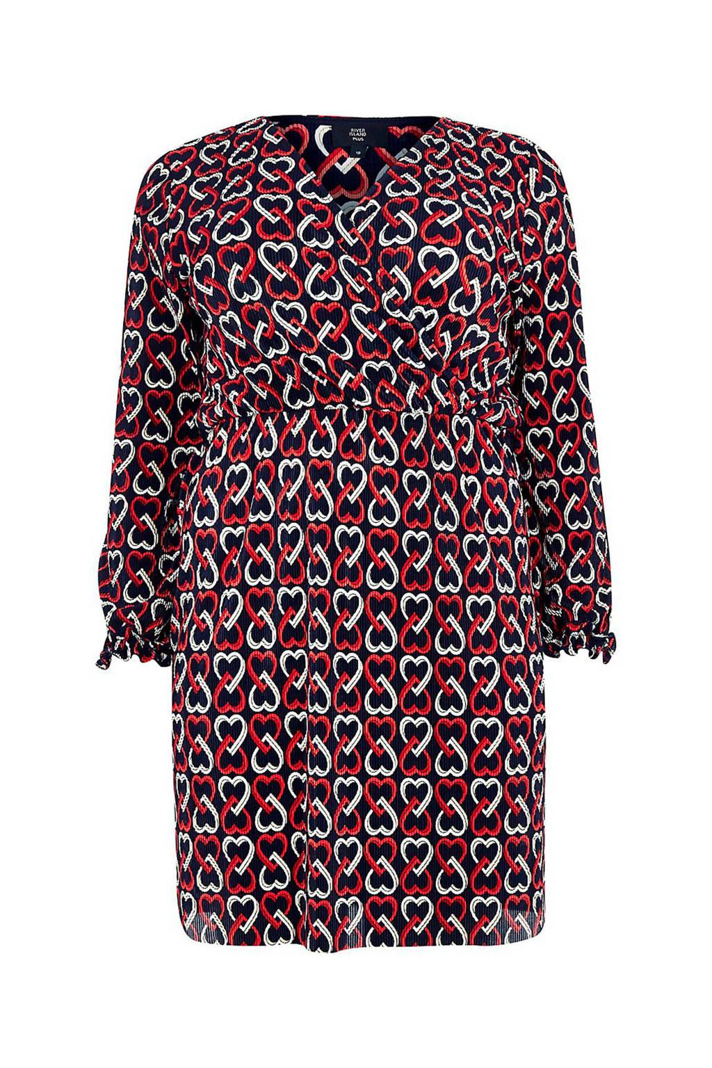 River Island Plus jurk met een all over print, Blauw/wit/rood