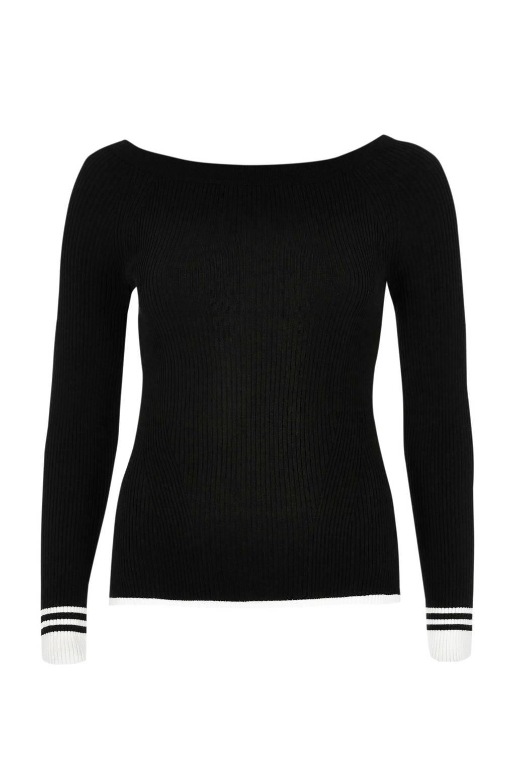 River Island trui met boothals, zwart/ wit