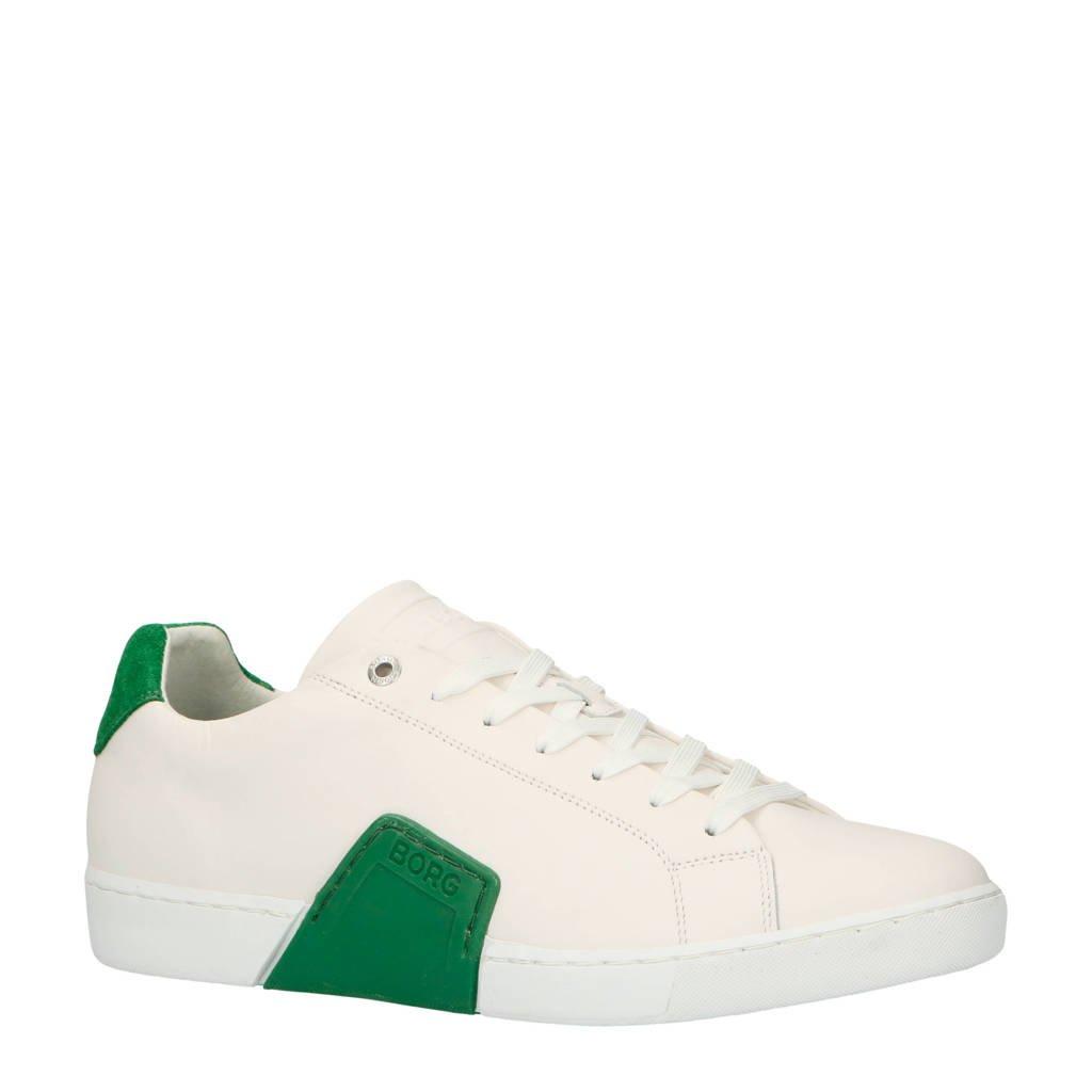 Björn Borg  Clip M leren sneakers wit/groen, Wit/groen