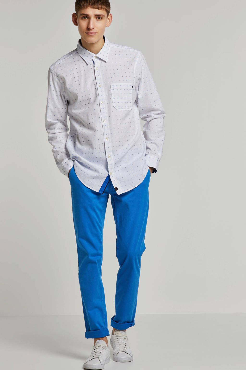 Strellson regular fit overhemd met print wit, Wit/blauw