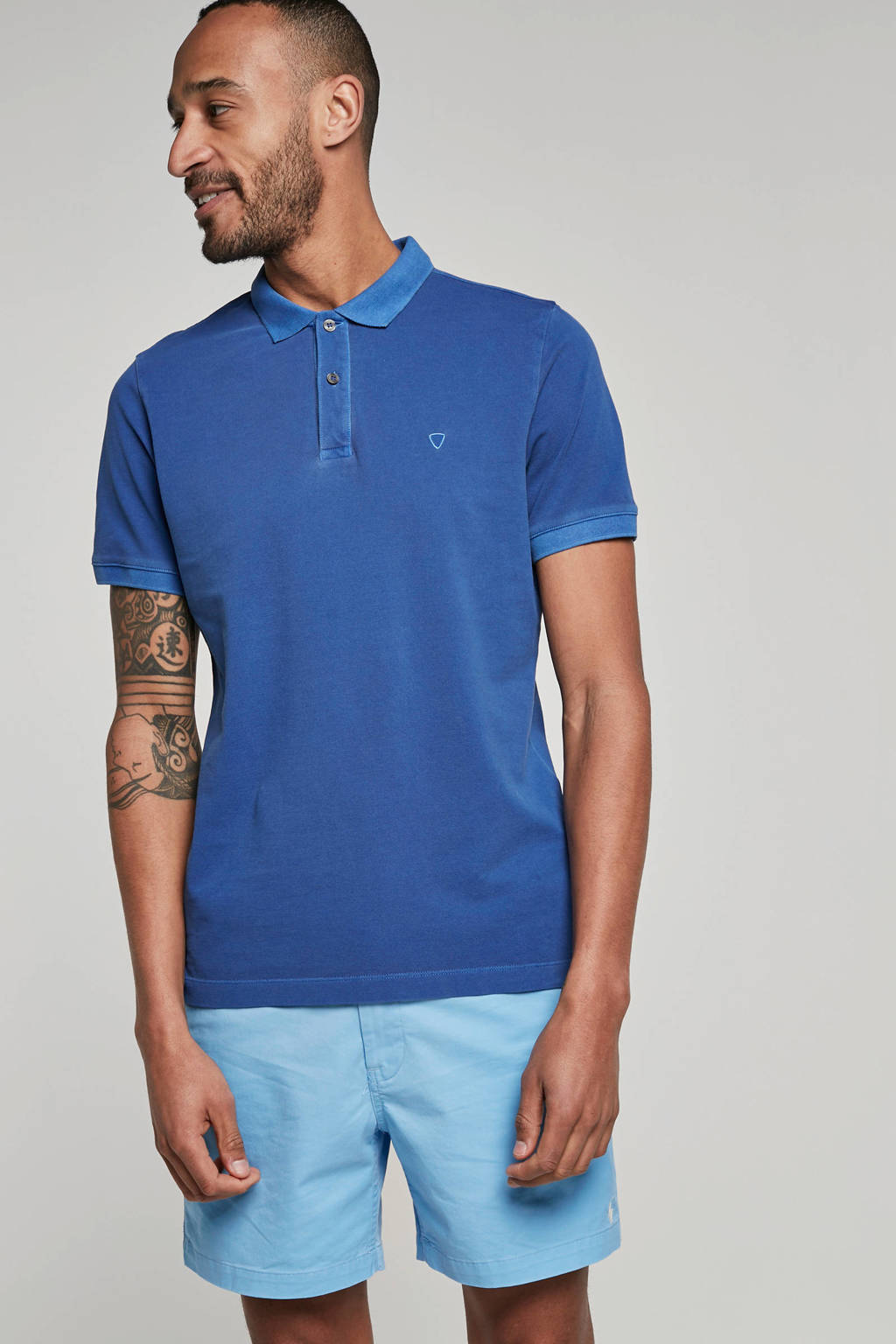 Strellson regular fit polo blauw, Blauw