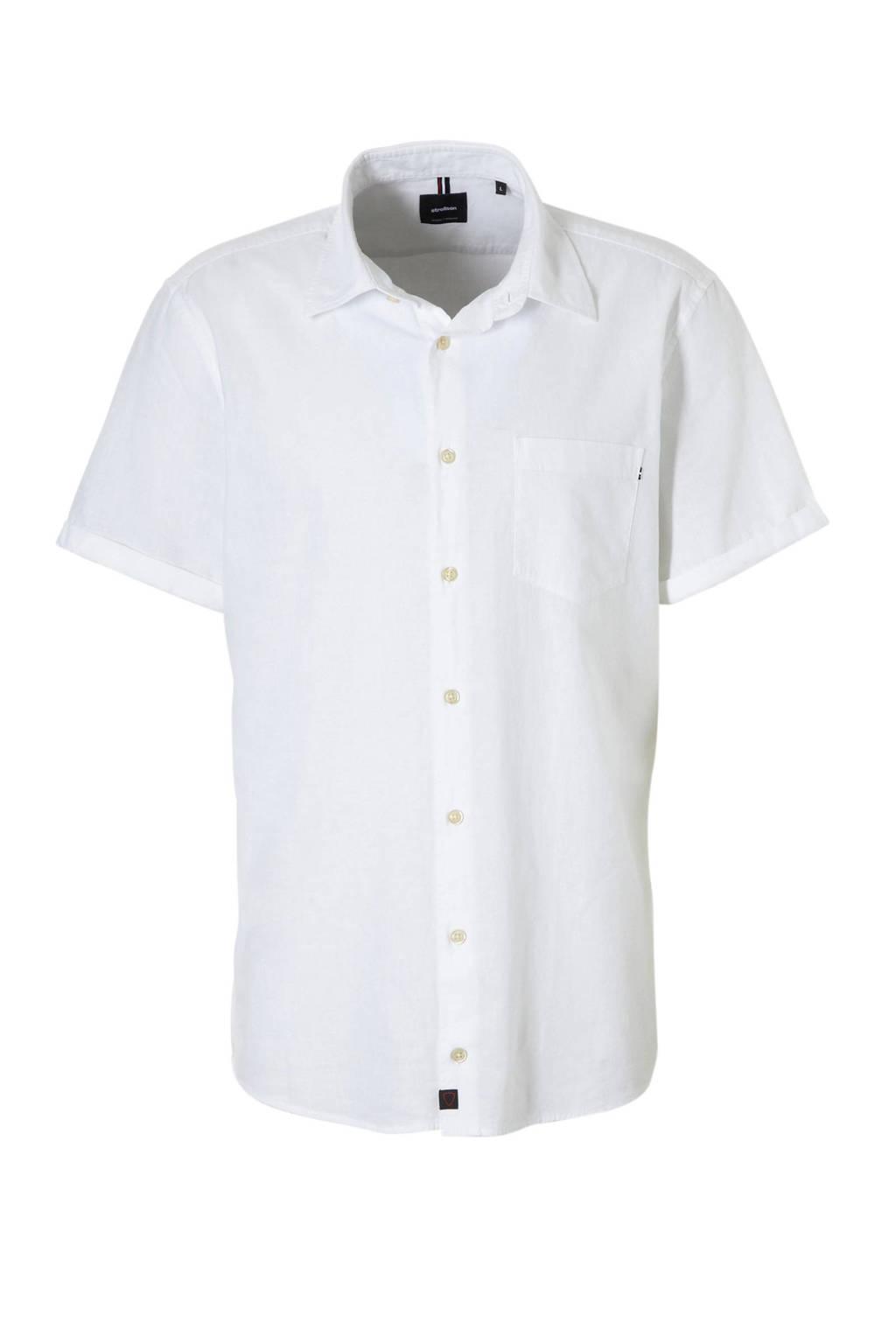 Strellson regular fit overhemd met linnen wit, Wit