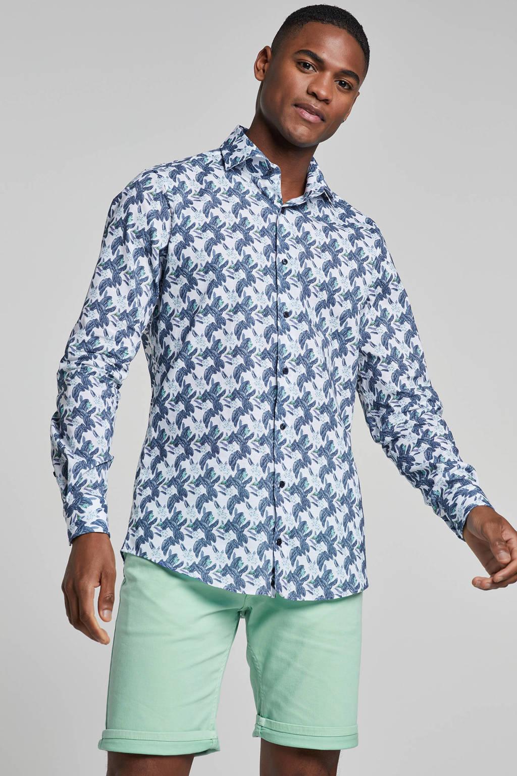 Strellson slim fit overhemd met print, Wit/blauw