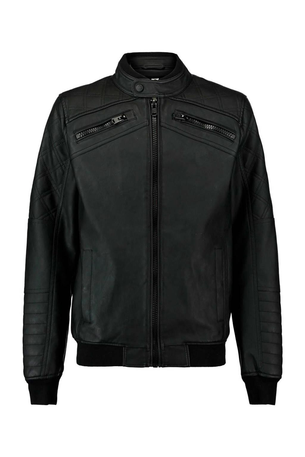 CoolCat lederlook bikerjas zwart, Zwart