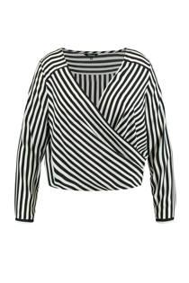 MS Mode top met overslag en streep dessin zwart (dames)