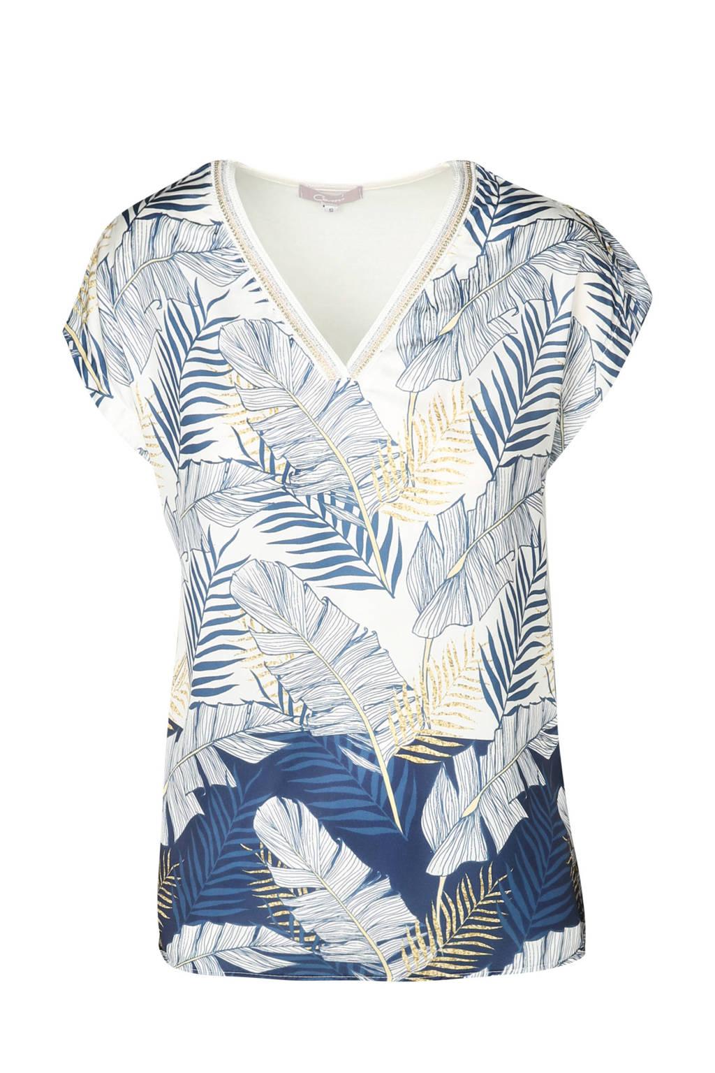 Cassis T-shirt met palmbladeren ecru/blauw, Marineblauw