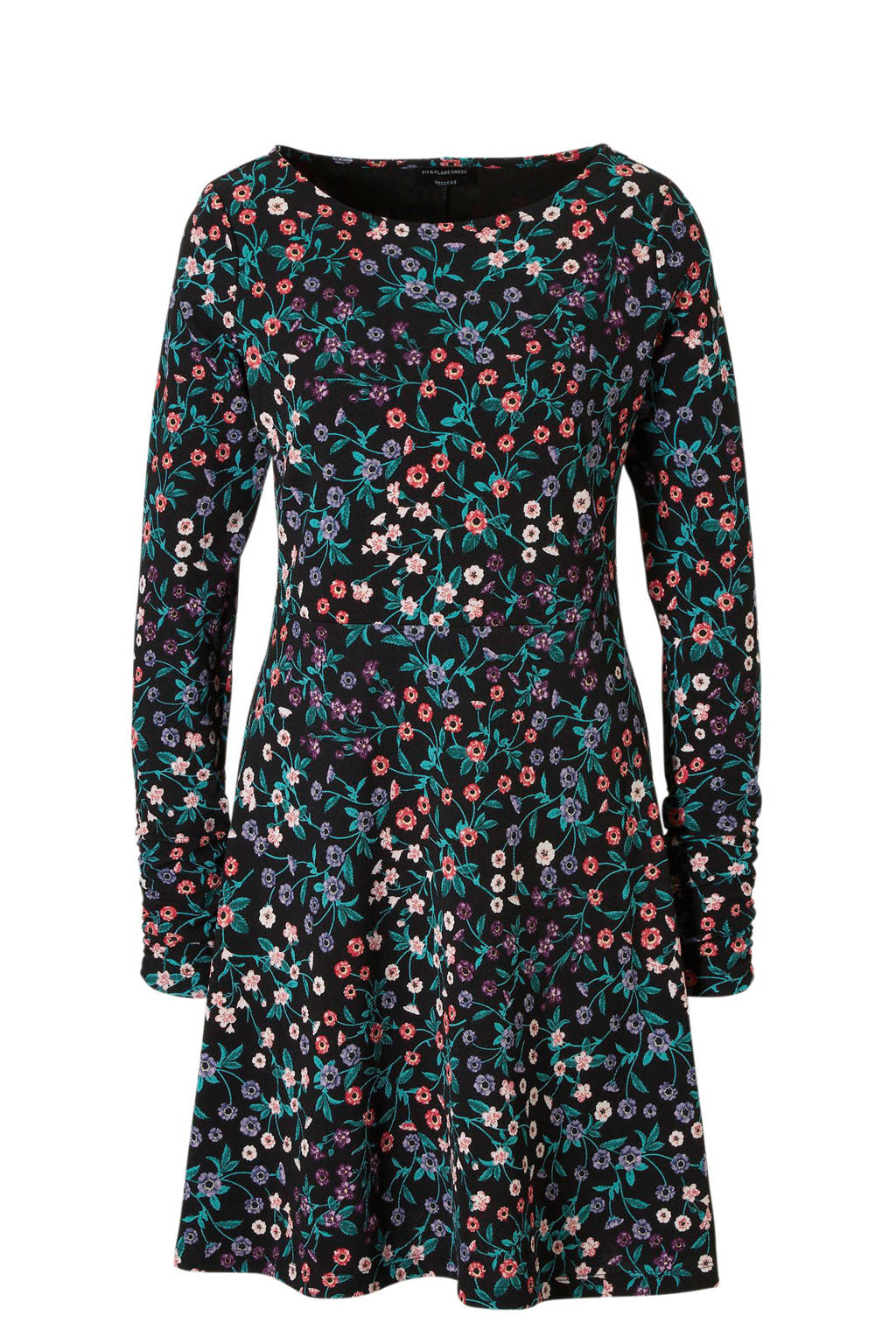 C&A Yessica jurk met all over bloemen print zwart, Zwart/ Multi-kleur
