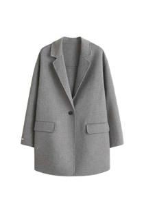 Violeta by Mango handgemaakte coat met wol grijs (dames)