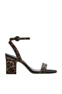 Mango leren sandalettes met panterprint zwart (dames)