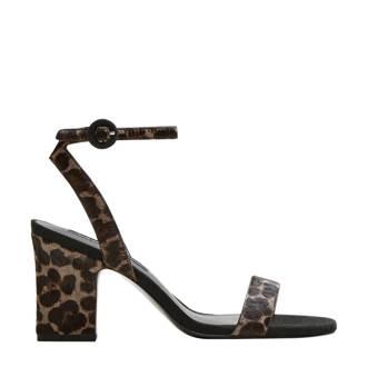 leren sandalettes met panterprint zwart