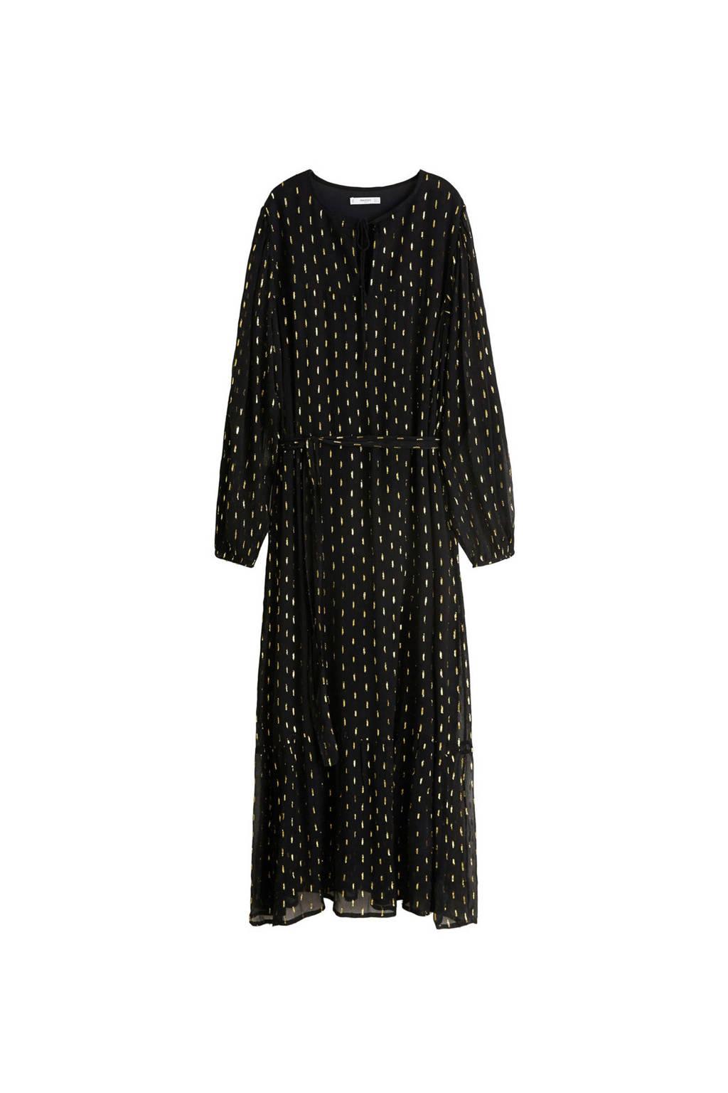 72d06c71e9c Mango jurk van jacquard zwart, zwart/ goud