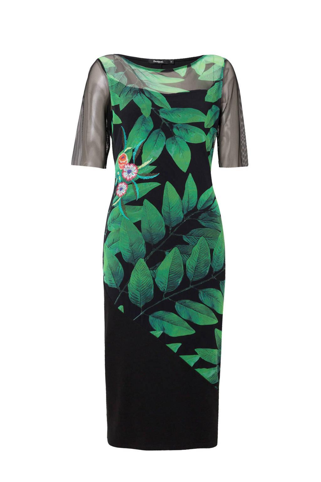 Desigual jurk met bladprint en semi-transparant detail, Zwart/groen