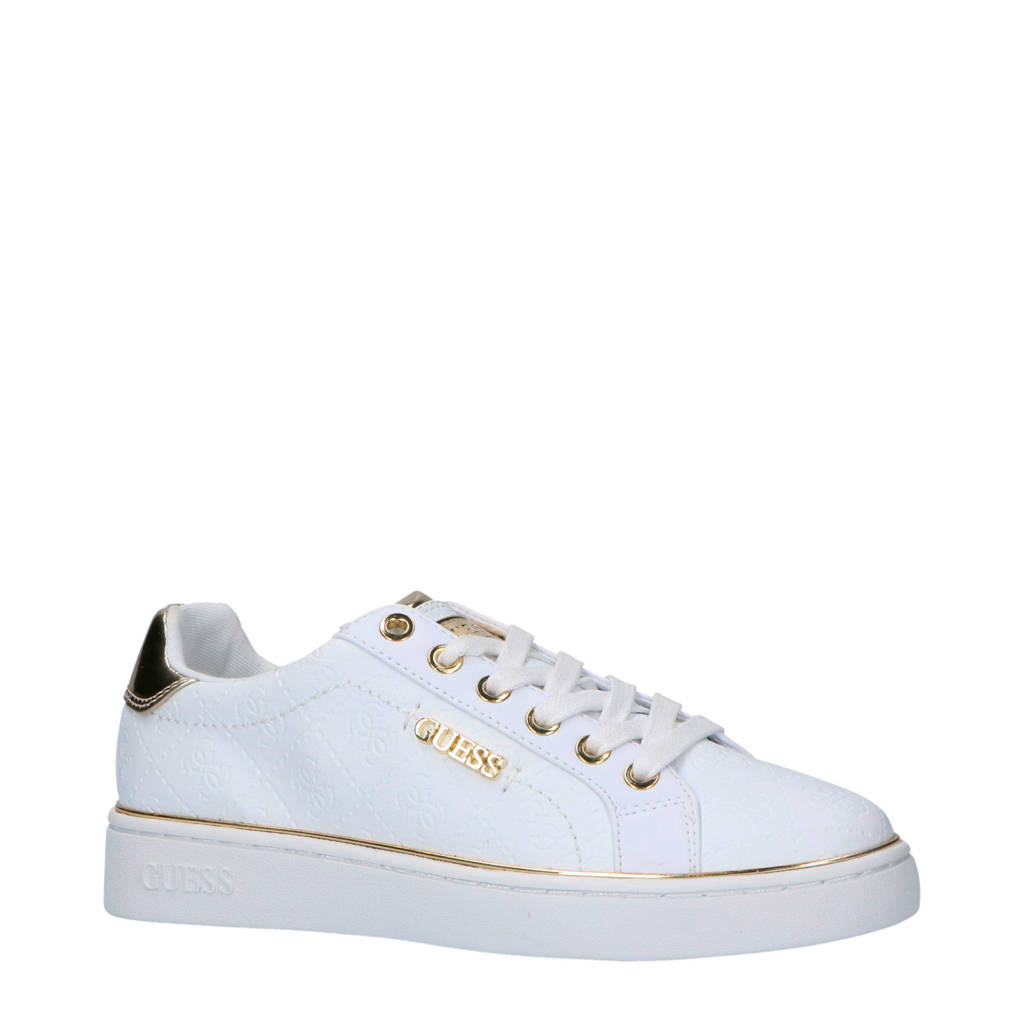 GUESS  sneakers wit, Wit/goud