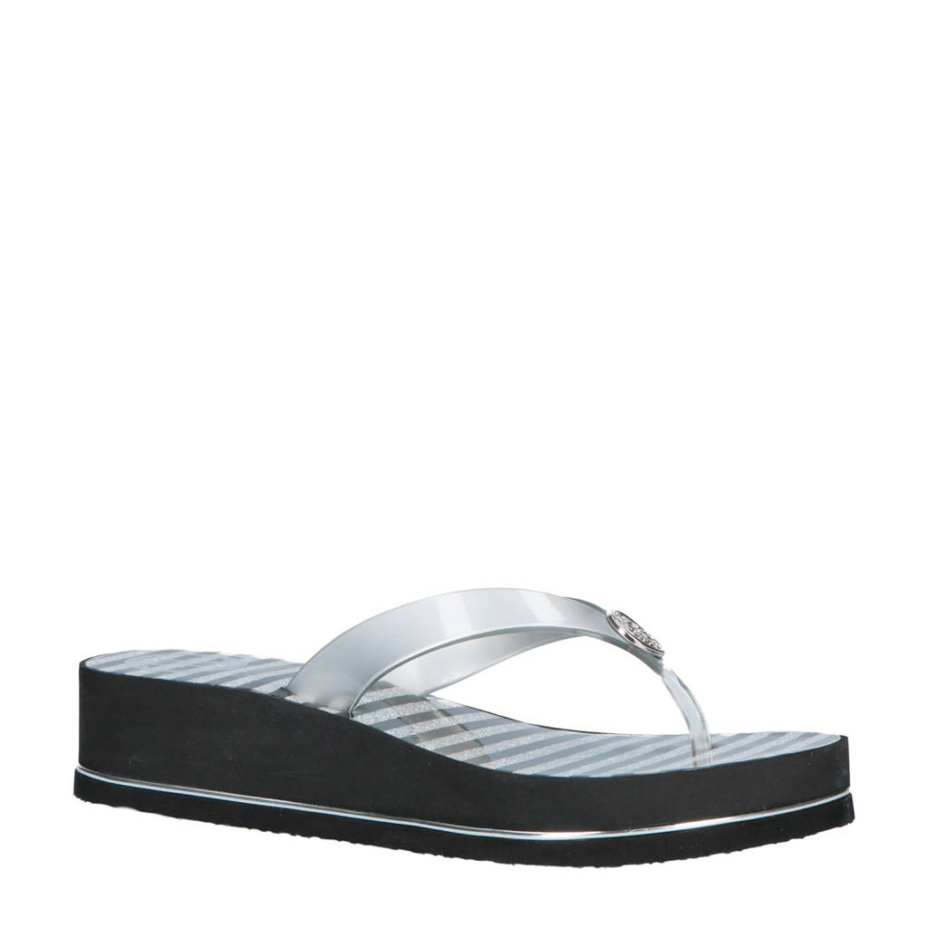 GUESS Enzy teenslippers zilver/zwart, Zilver/zwart