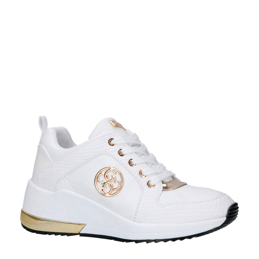 GUESS  Jaryd2 leren sneakers wit, Wit/goud