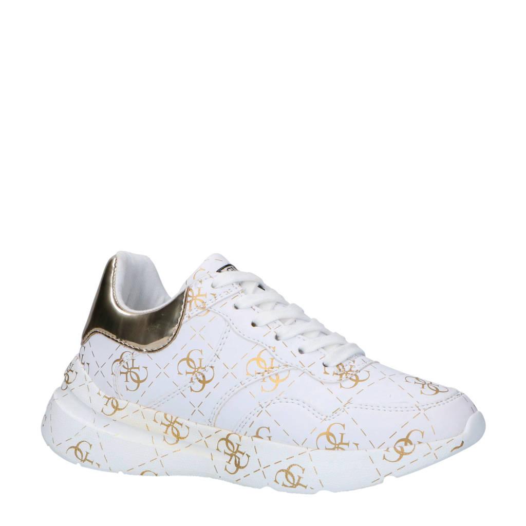GUESS  sneakers met logo wit, Wit/goud