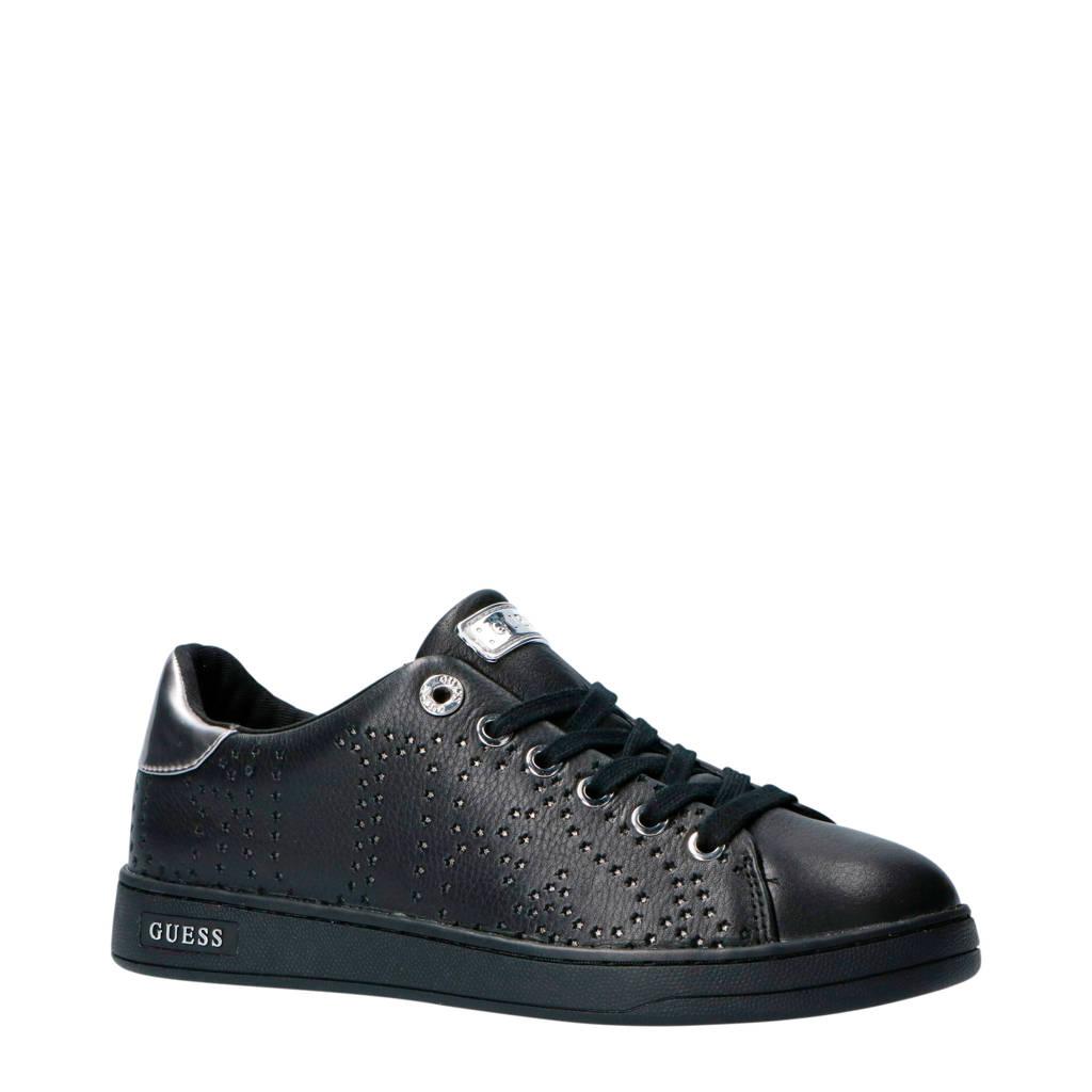GUESS  Carterr leren sneakers zwart, Zwart