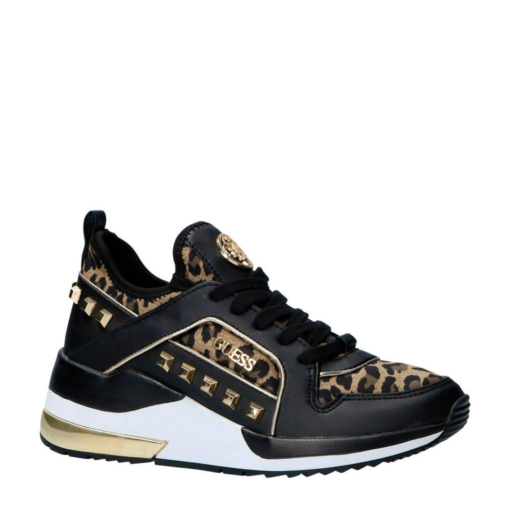 GUESS  Julyann sneakers met logo zwart, zwart/goud/bruin