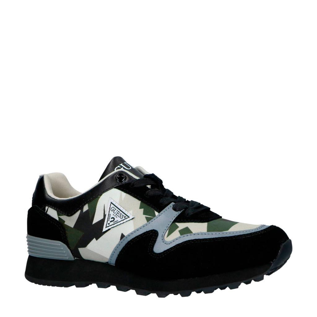 GUESS  suède sneakers zwart, Zwart/grijs/groen