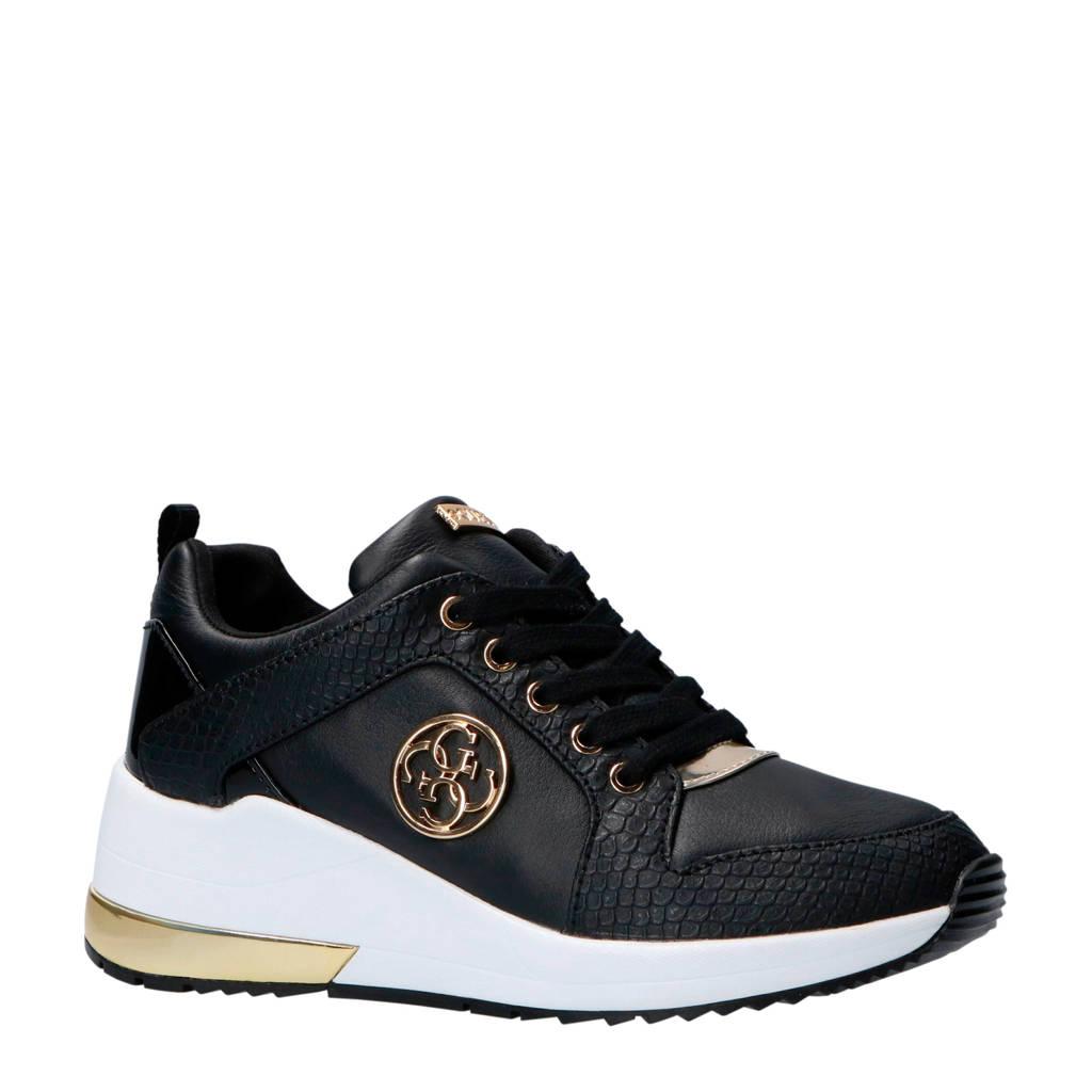 GUESS  Jaryd2 leren sneakers zwart, Zwart/goud