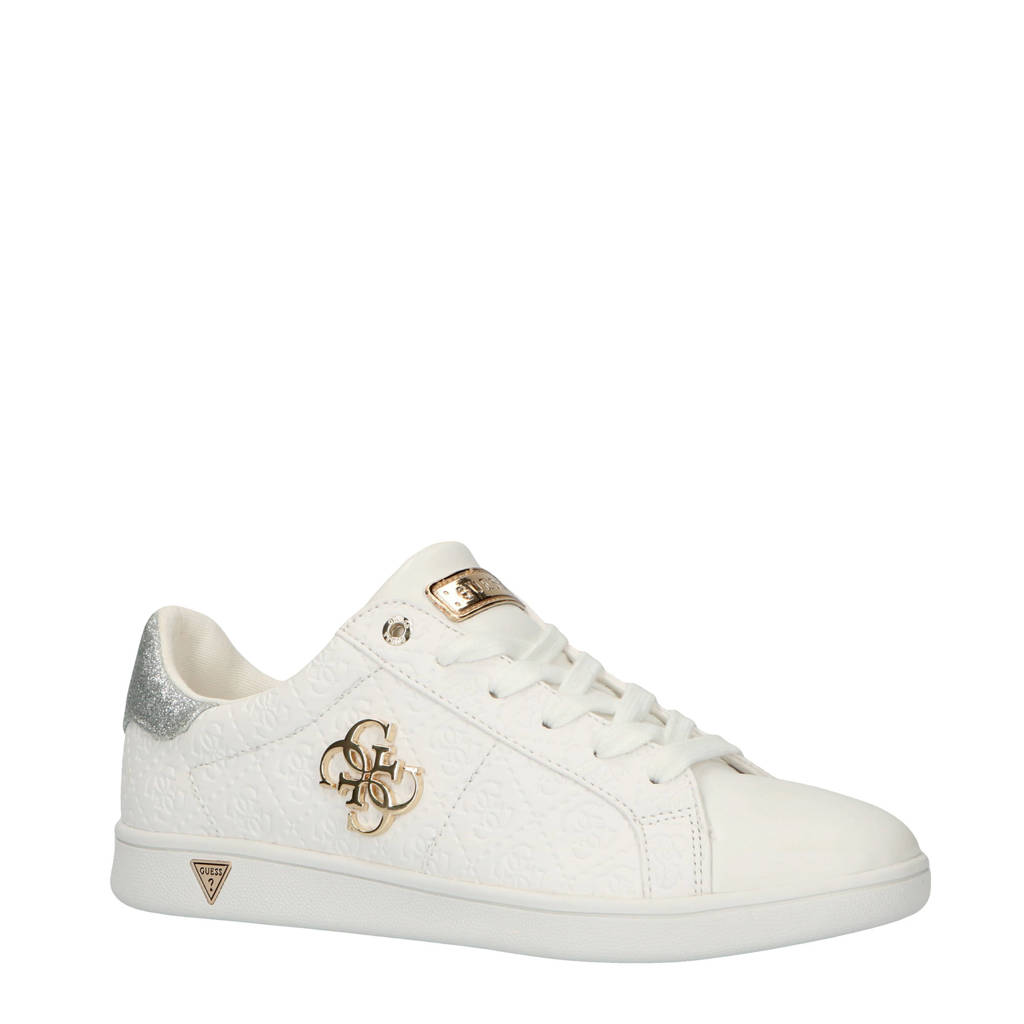 7498c79daeb GUESS Baysic2 sneakers wit, Wit/goud