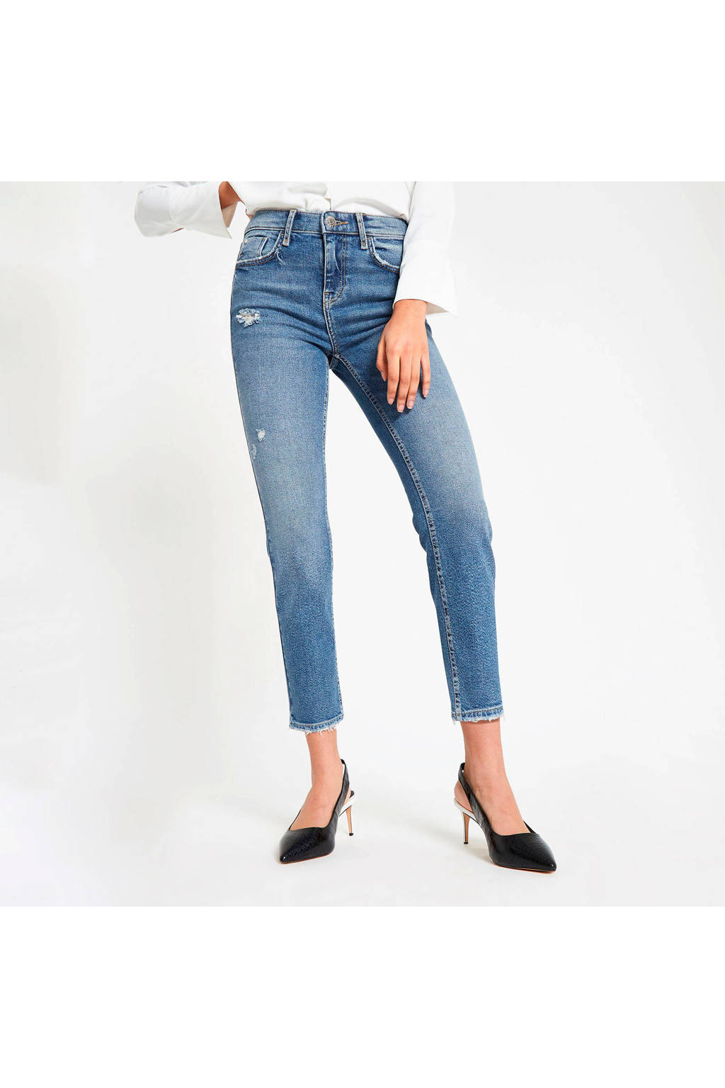 River Island jeans met slijtage details, Lichtblauw