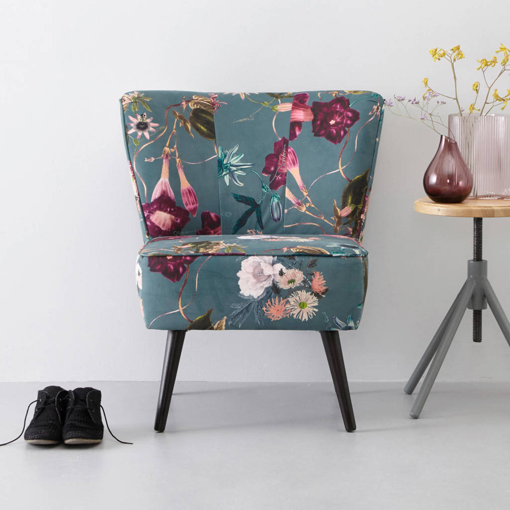 whkmp's own fauteuil Coco velours, Bloemenprint (grijsblauw)