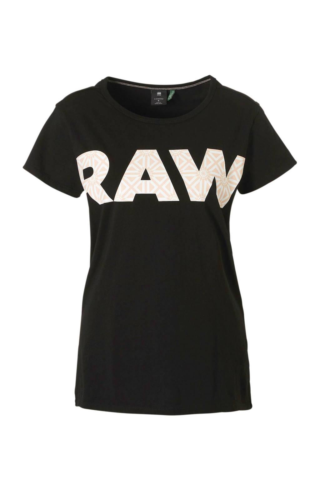 G-Star RAW T-shirt met printopdruk zwart, Zwart