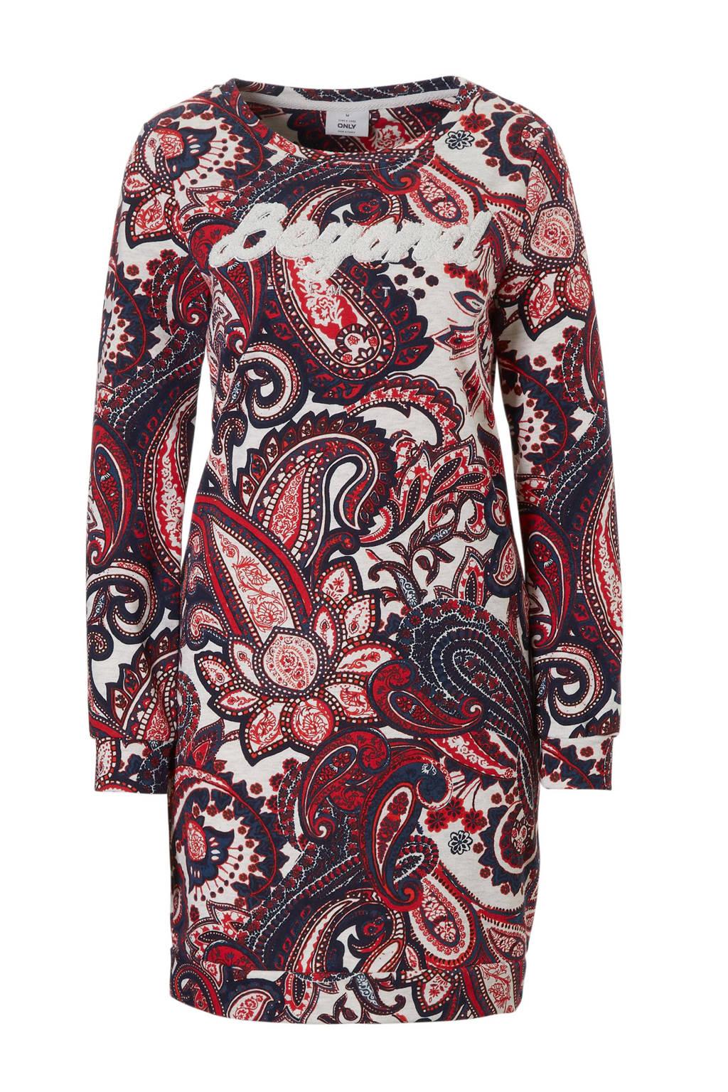ONLY jurk met paisley print, Rood/wit/zwart