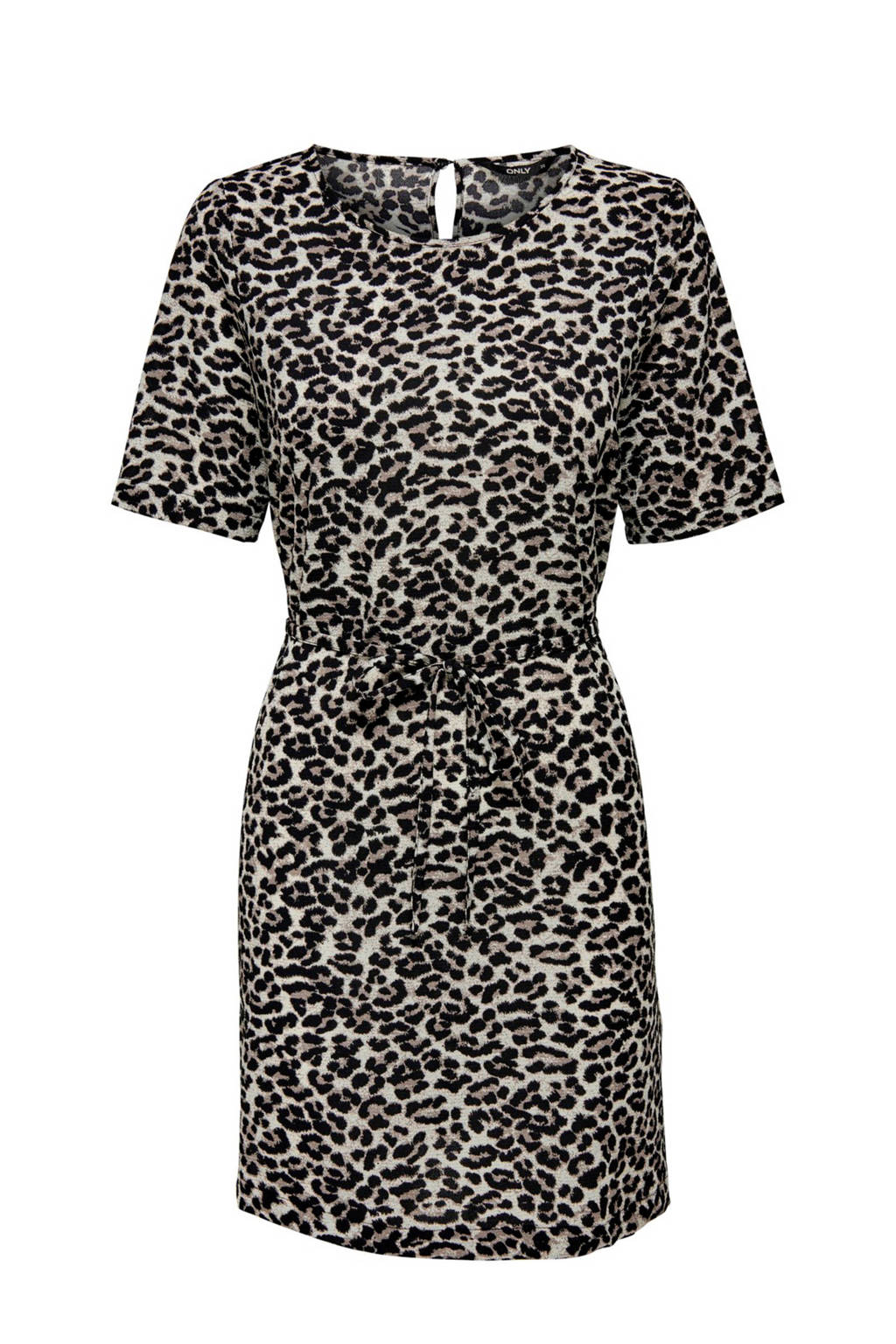 ONLY jurk met panterprint ecru, Ecru/zwart