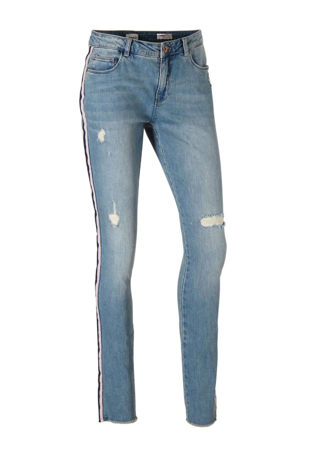 ONLY skinny fit jeans met zij strepen en slijtage details, Blauw/roze/zwart
