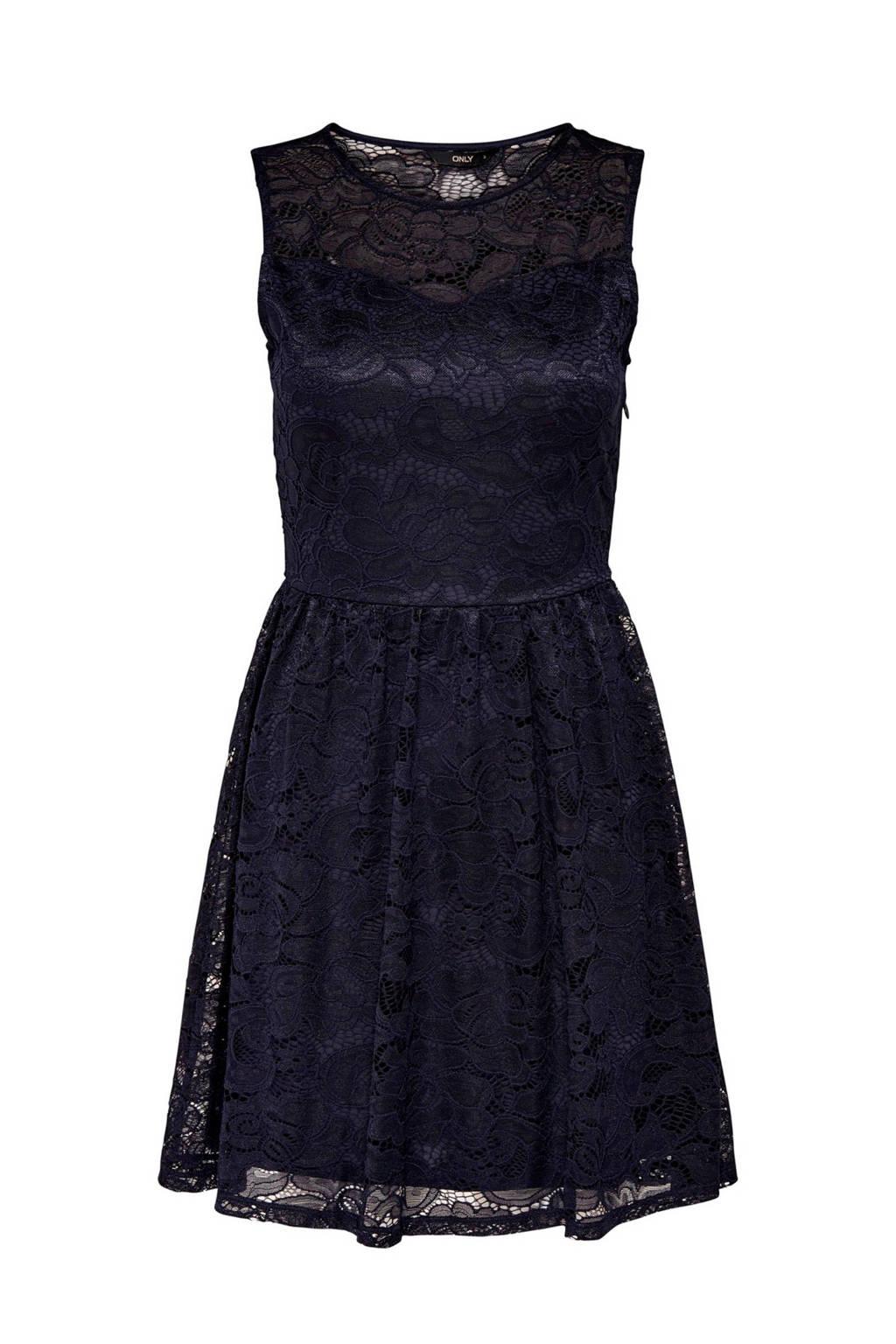 336f5c7ef3489e ONLY kanten jurk donkerblauw