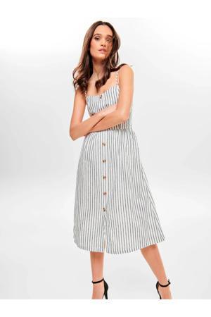 gestreepte jurk wit/grijs