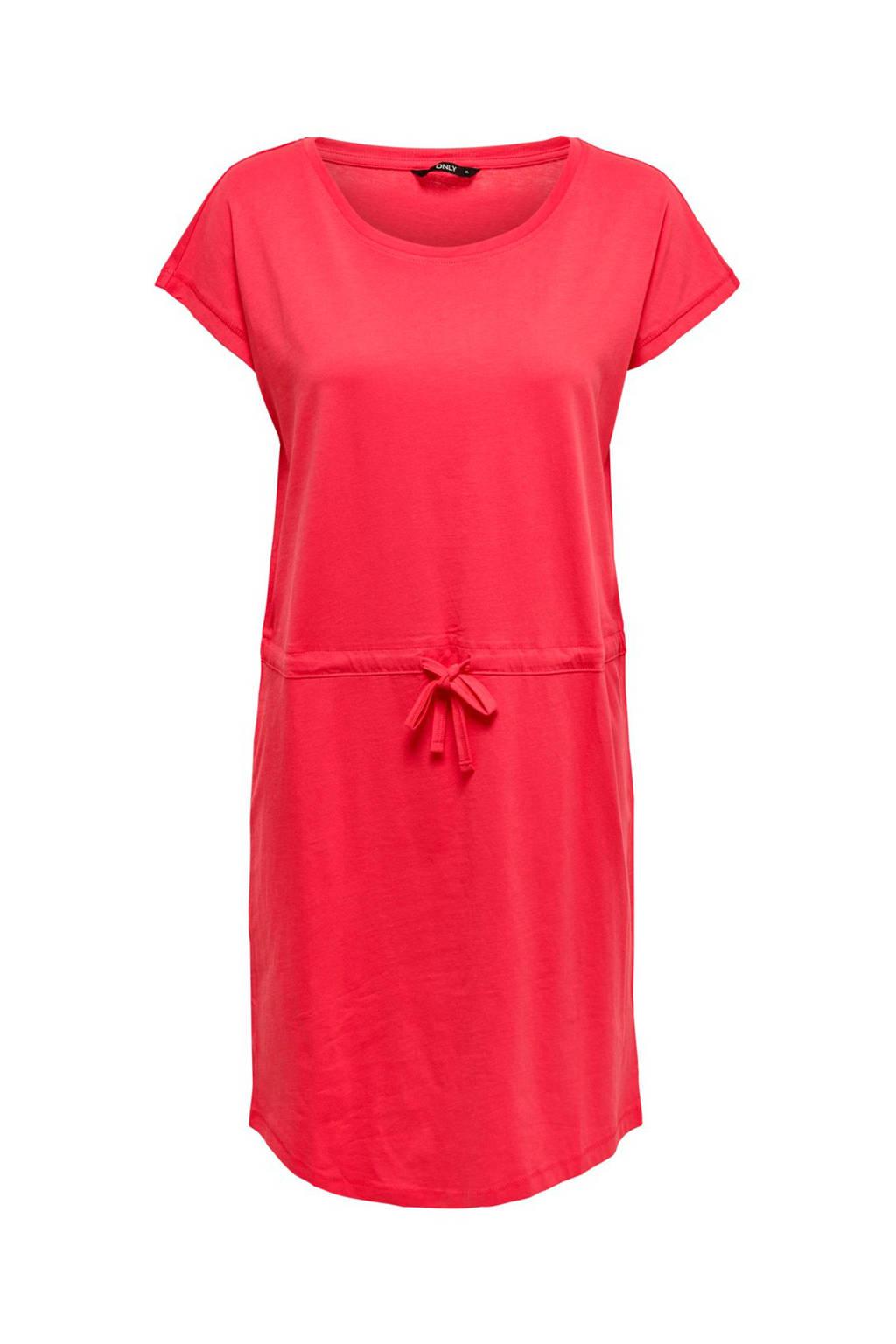 ONLY jurk met striksluiting, Roze