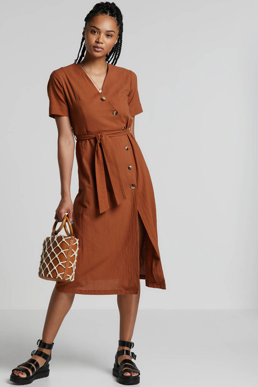 ONLY jurk met ceintuur, Cognac