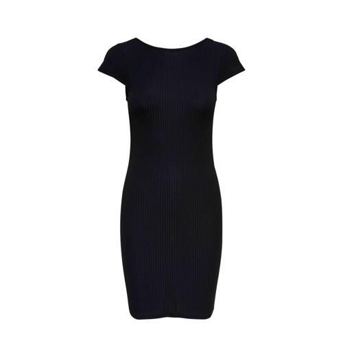 ONLY gestreepte jurk zwart kopen