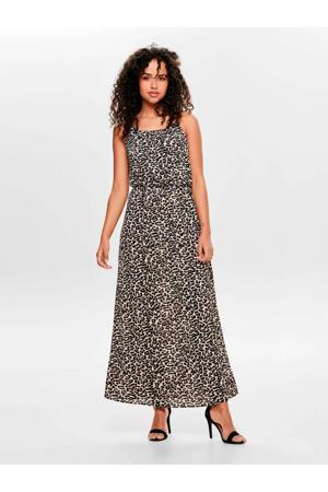 maxi jurk met panterprint camel