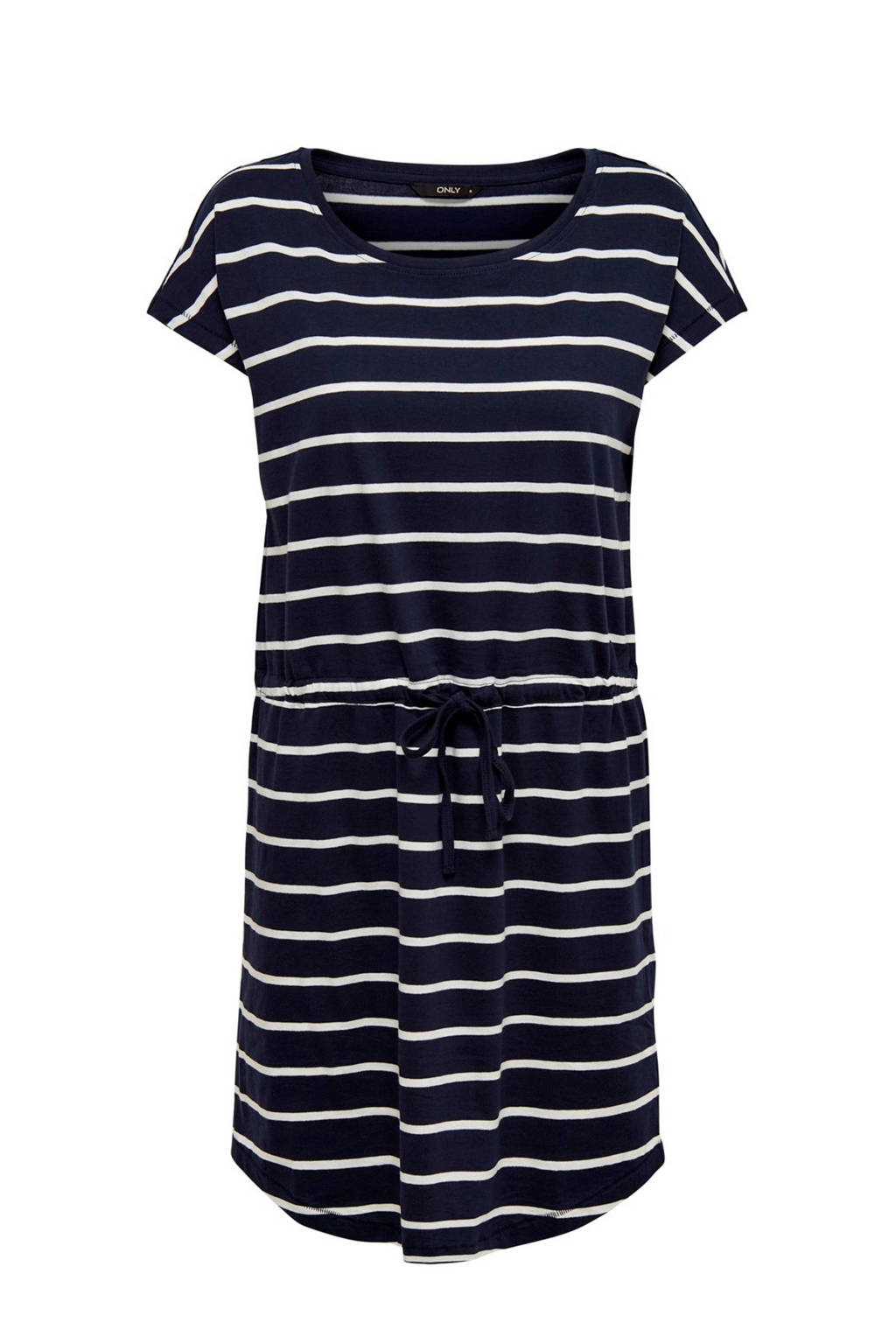 ONLY gestreepte jurk donkerblauw, Donkerblauw/wit