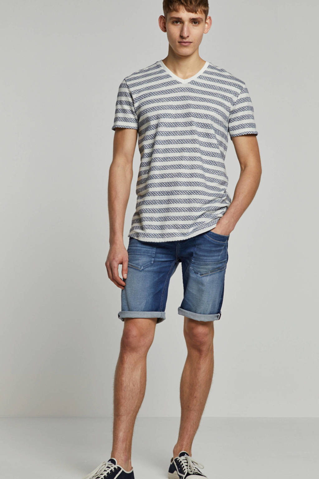 Cars slim fit jeans short, Mid blue