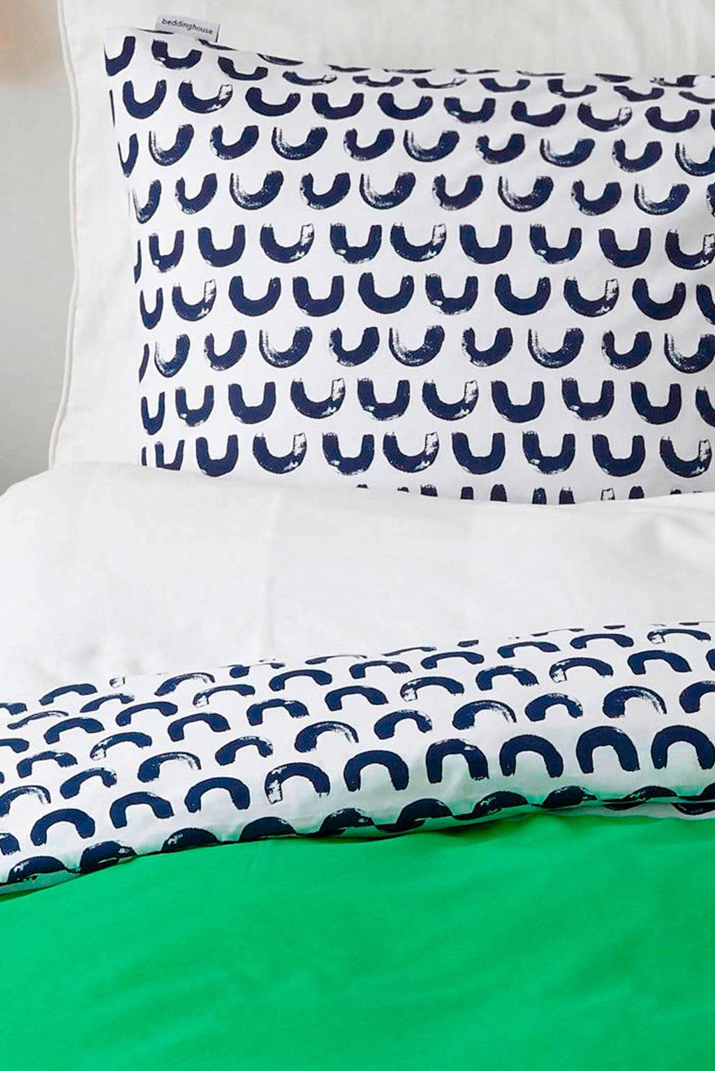 Beddinghouse katoenen kinderdekbedovertrek, Groen/blauw/wit, 1 persoons (140 cm breed)