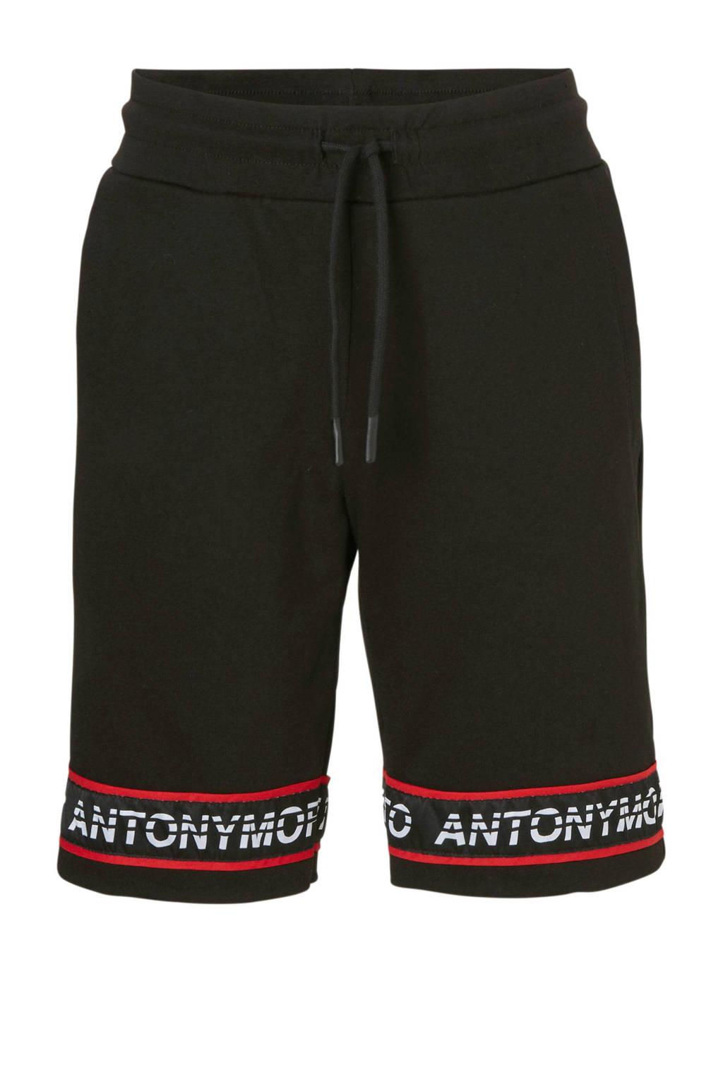 Antony Morato slim fit sweatshort zwart/rood, Zwart/rood
