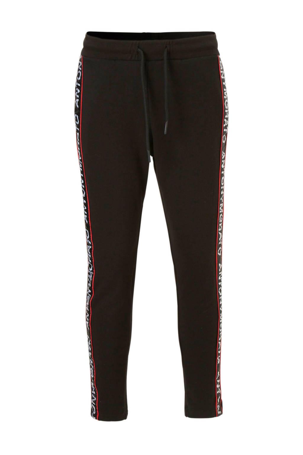 Antony Morato   sweatpants met zijbies zwart, Zwart