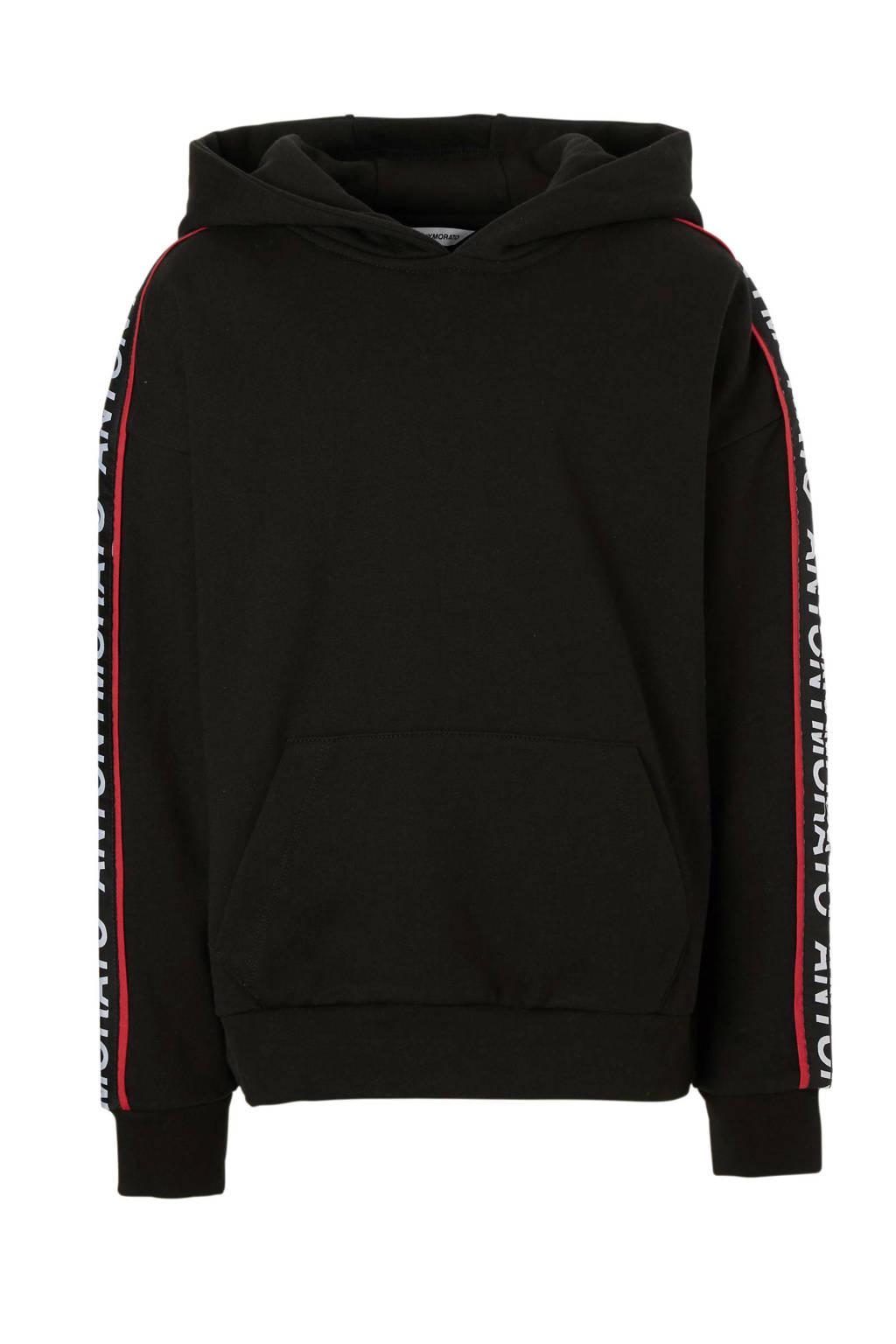 Antony Morato hoodie met tekstbies zwart, Zwart