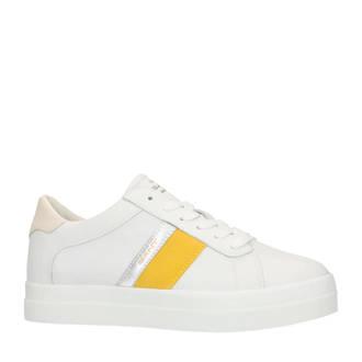 leren sneakers wit/geel