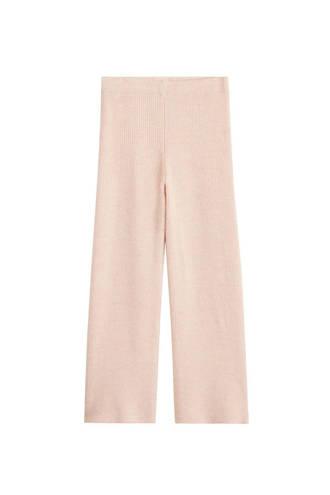 gebreide straight fit pantalon beige